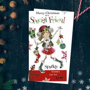 Merry Christmas Special Friend Sparkly Wishes Just For You Featuring A Cartoon Drawn Young Girl With Baubles,