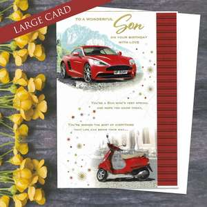 To A Wonderful Son On Your Birthday With Love Card. Full Colour Design Depicting Red Sports Car And Red Moped Plus Verse. Completed With Gold Foil Lettering And A White Envelope
