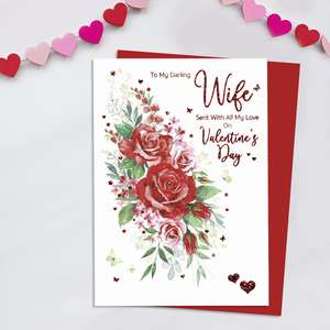 Darling Wife Valentine's Day Card Alongside Its Red Envelope