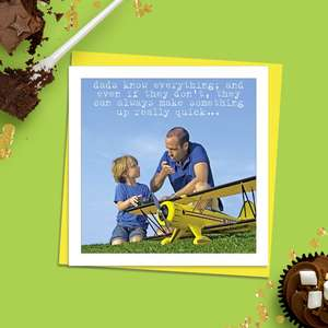 Beautiful Photographic Funny Card Showing A Man And A Young Boy Chatting By A Large Remote Control Aeroplane. Caption: Dads Know Everything; And Even If They Don't, They Can Always Make Somwething Up