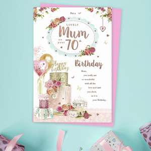 Mum Age 70 Birthday Card Alongside Its Light Pink Envelope