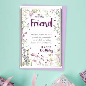 Special Friend Floral Birthday Card Sitting On A Display Shelf