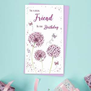 Friend Dandelion Friend Birthday Card Alongside Its Lilac Envelope
