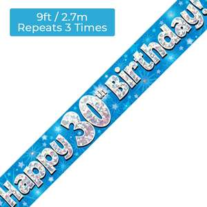 Age 30 Blue And Silver Holographic Party Banner Displayed