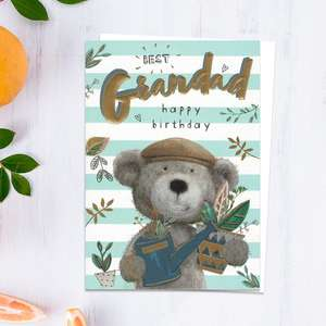 Best Grandad Happy Birthday Card Showing A Gardener Teddy With Watering Can And Plant Pot! Beautiful Gold Foiling Detail And White Envelope