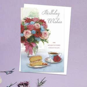 Birthday Wishes Traditional Open Birthday Card Showing Flowers, Cake And Tea! With Added Silver Foil Detail And White Envelope