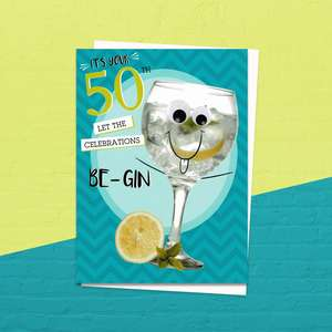 50th Celebrations Be Gin Birthday Card Alongside Its White Envelope