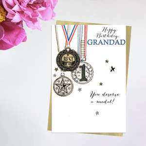Grandad You Deserve A Medal Greeting Card Alongside Its Ivory Envelope