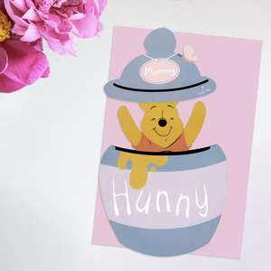 Mummy Winnie The Pooh Mother's Day Card Alongside Its Light Pink Envelope