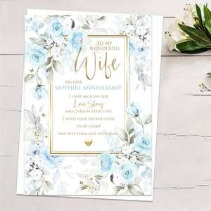 ' To My Wonderful Wife On Our Sapphire Anniversary' Featuring Blue Roses With Gold Foiled Detail , Heartfelt Words And White Envelope