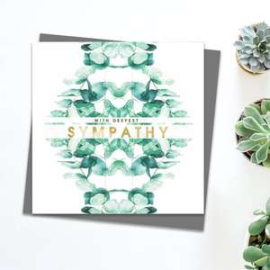 Sympathy Eucalyptus Greeting Card Alongside Its Dark Grey Envelope