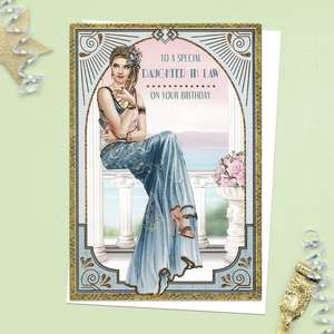 ' To A Special Daughter In Law On Your Birthday' Card Featuring A Beautiful Lady Sitting On A Flower Filled Balcony. From the Art Deco Range By Debbie Moore. Complete With Gold Foiling Detail And White Envelope