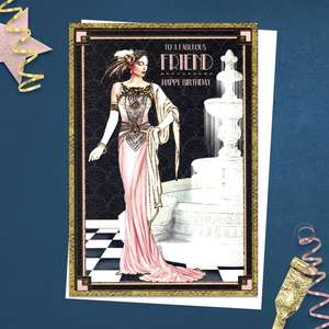 ' To A Fabulous Friend Happy Birthday' Card Featuring A Beautiful Lady Beside A Fountain. From The Art Deco Range By Debbie Moore. With Gold Foil Detail And White Envelope