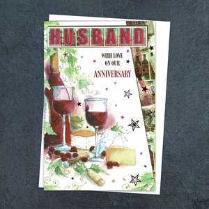 'Husband With Love On Our Anniversary' Card Featuring Two glasses Of Red Wine And Cheese! With Added Gold Foiling Detail And White Envelope
