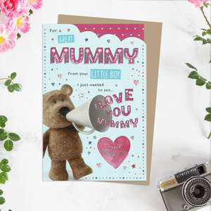 ' For A Great Mummy From Your Little Boy' Mother's Day Card Featuring Barley Bear and Megaphone! Complete With Added Silver Foiling And Brown Envelope