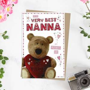 ' For The Very Best Nanna On Mother's Day' Card Featuring Barley Bear! Complete With Silver Foiled Detail And Brown Envelope