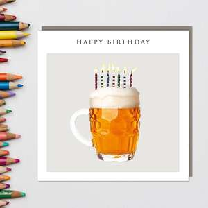 Sparkle - Pint Of Beer & Birthday Candles Card Front Image