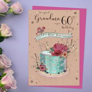 Grandma Age 60 Birthday Card Alongside Its Magenta Envelope
