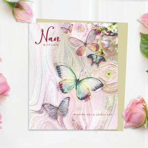 Nan With Love Birthday Butterflies And Flowers Card Front Image