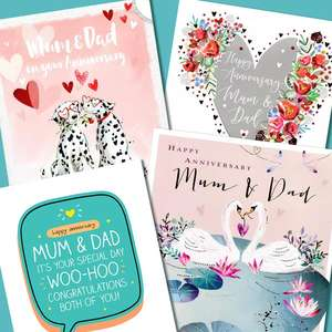 A Selection Of Cards To Show The Depth Of Range In Our Mum And Dad Anniversary Section