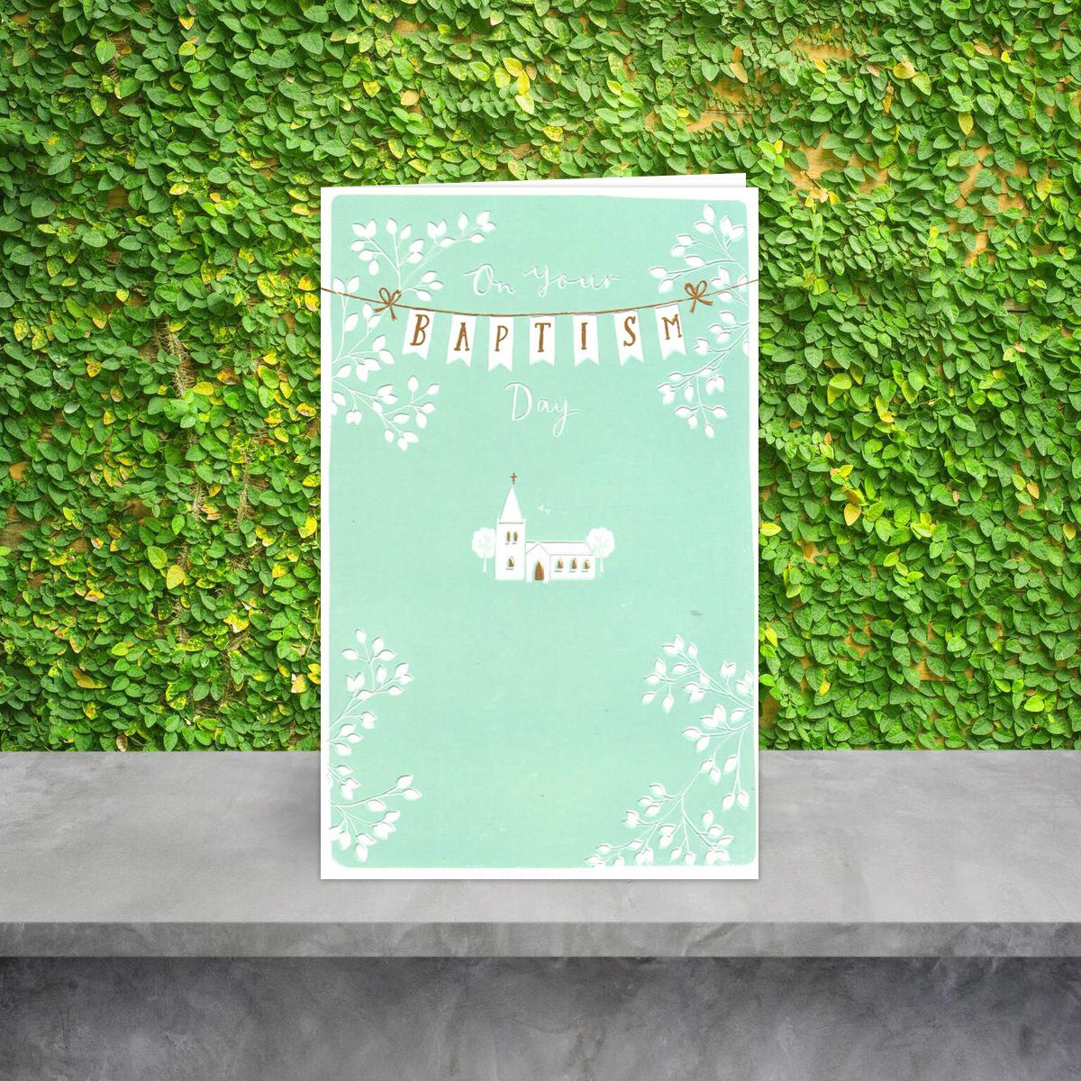 Baptism Church Greeting Card On A Wooden Shelf