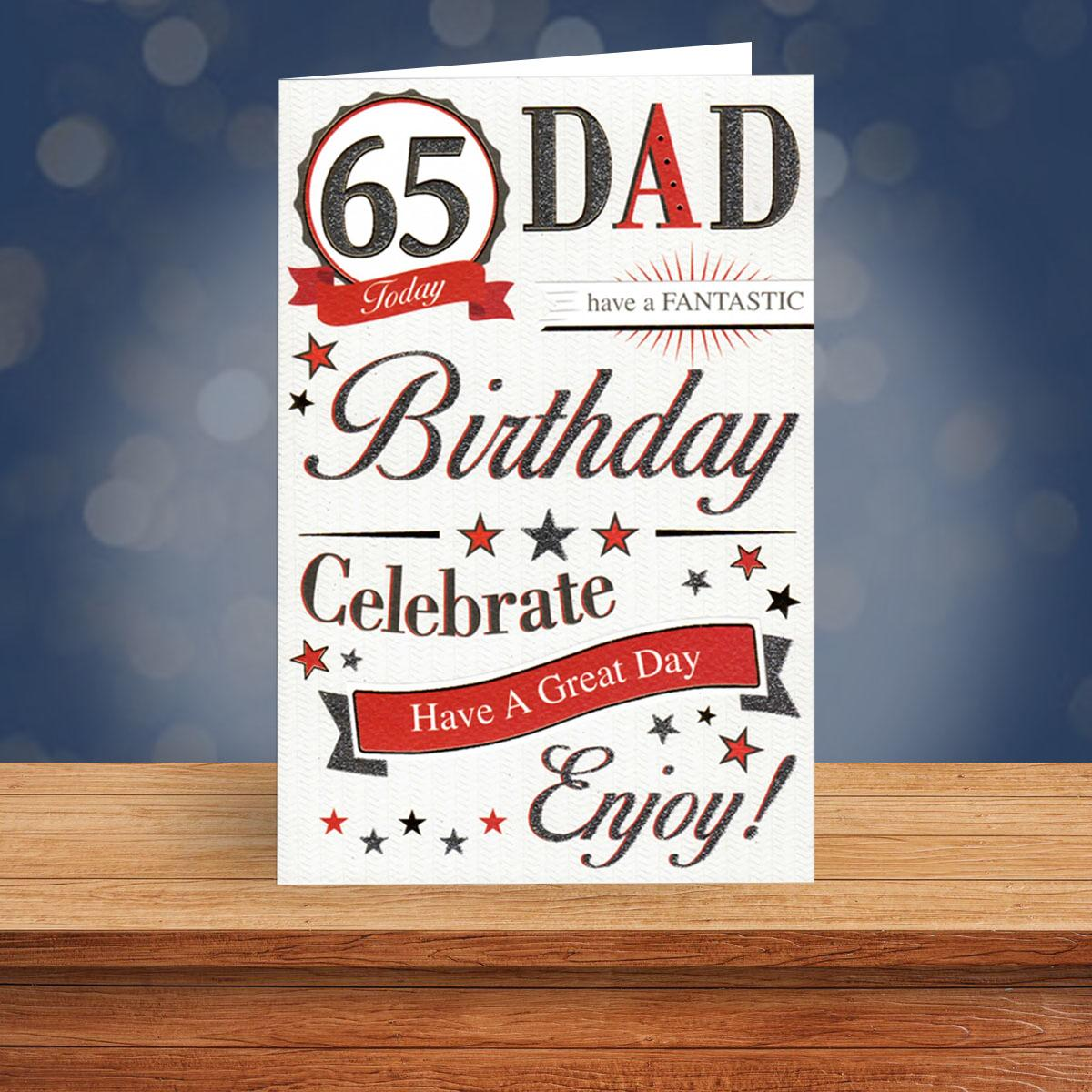 Dad Age 65 Birthday Card Alongside Its Envelope