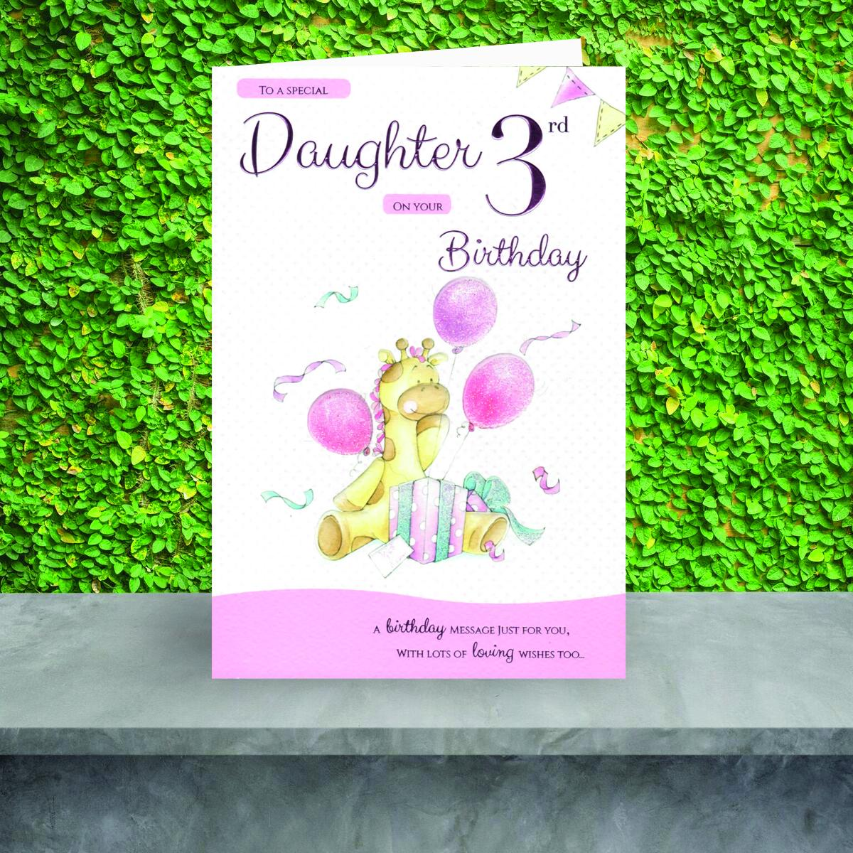Daughter Age 3 Birthday Card Sat On The Shelf