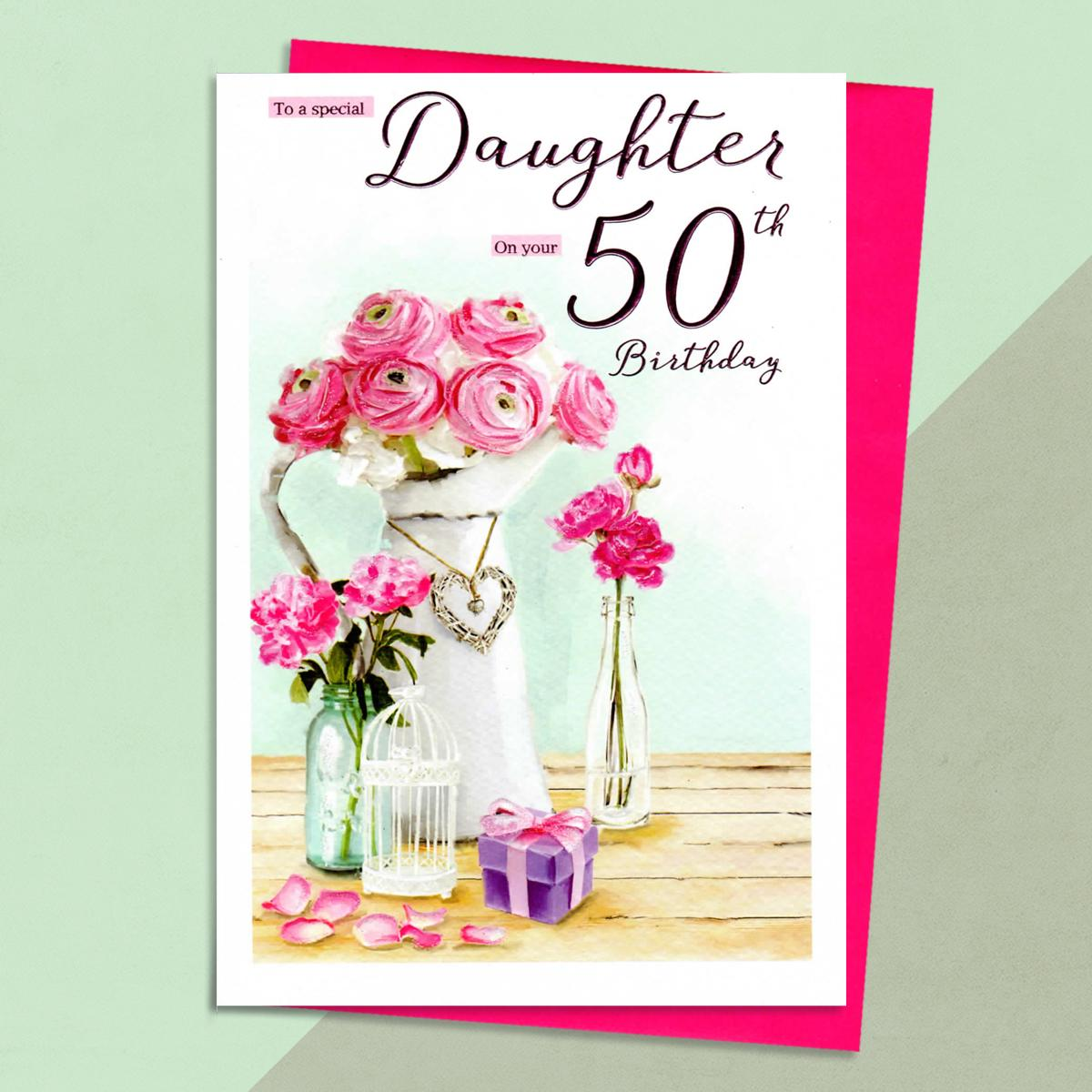 Daughter Age 50 Birthday Card Sitting On The Shelf