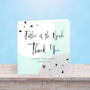 Father Of The Bride Greeting Card Sat On A Display Shelf