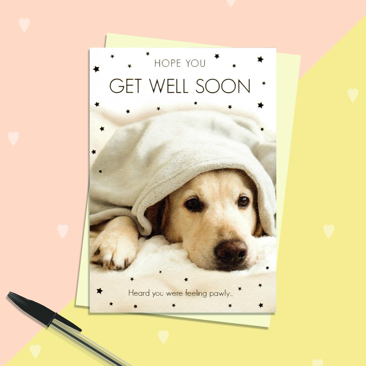 Feeling Poorly Dog Get Well Soon Card Sitting On A Display Shelf