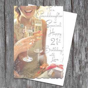 Granddaughter Age 21 Birthday Card Full Image