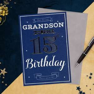 Grandson Age 15 Birthday Card Alongside Its Envelope