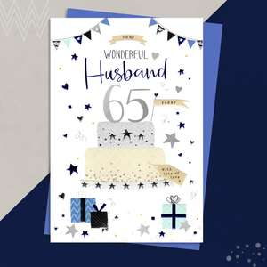 Husband Age 65 Birthday Card Sat On A Wooden Display Shelf