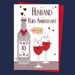 Husband Ruby Anniversary Card Sat On A Wooden Display Shelf