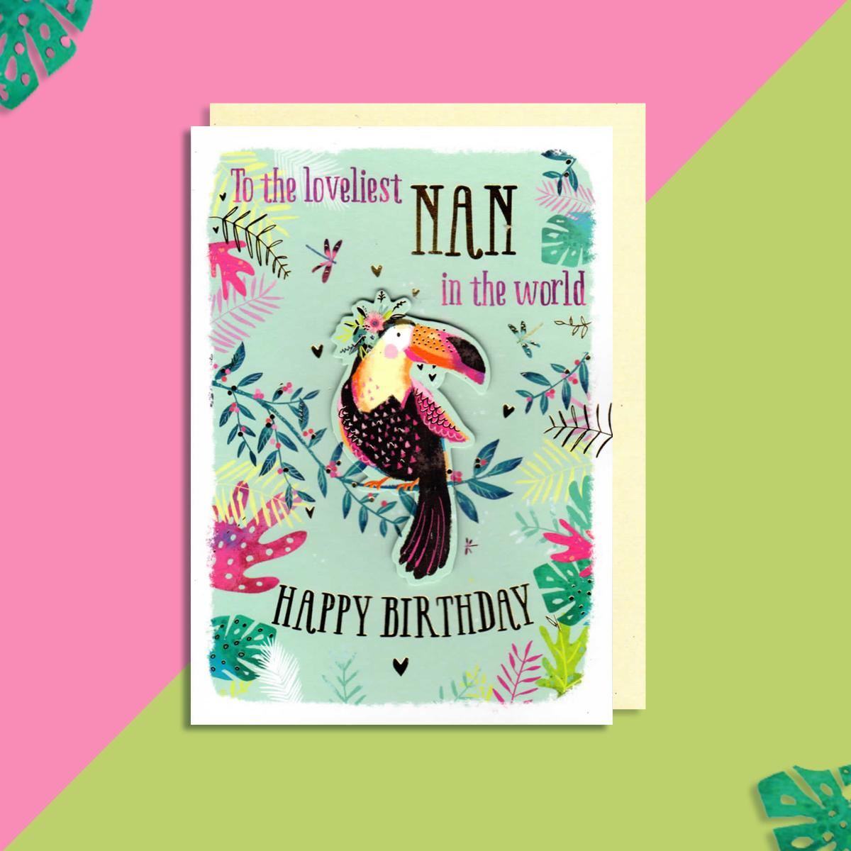 Nan Toucan Themed Birthday Card Displayed On A Wooden Shelf