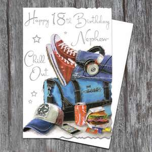 Nephew Age 18 Birthday Card Alongside Its White Envelope