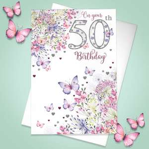 Age 50 Butterfly Birthday Card Alongside Its White Envelope