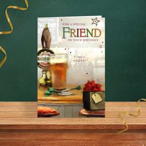 Friend Pub Scene Birthday Card Sitting On A Wooden Display Shelf