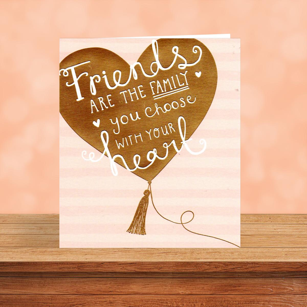 Gold Balloon Heart Friend Birthday Card Sitting On A Display Shelf