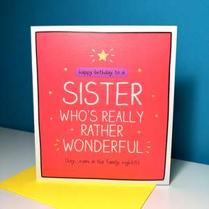 Sister Happy Jackson Birthday Card Alongside Its Yellow Envelope