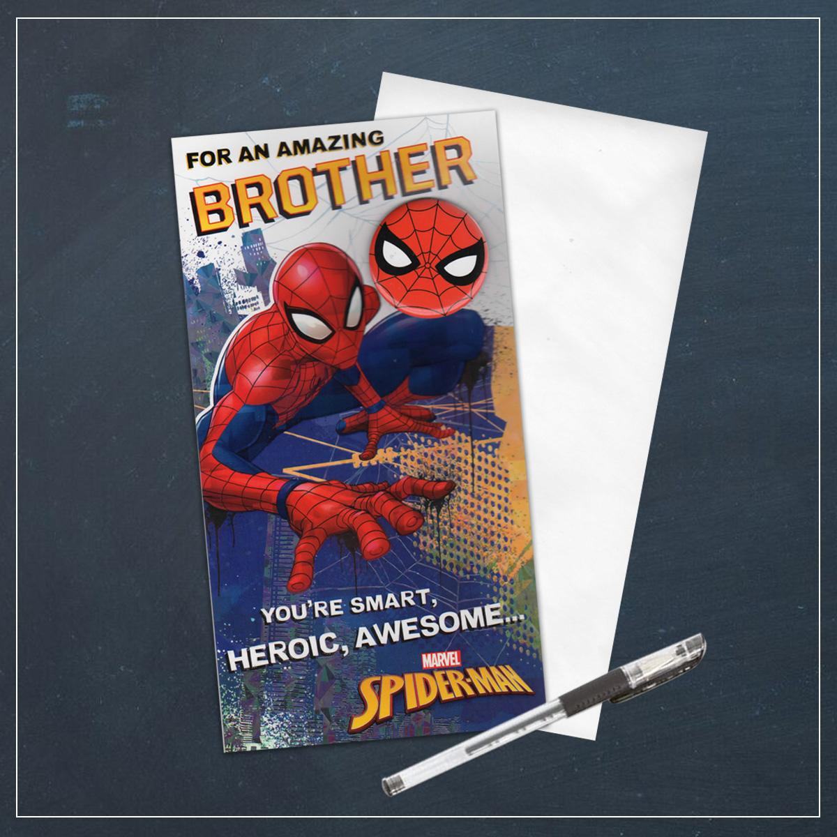 Brother Spiderman Birthday Card Alongside Its Envelope