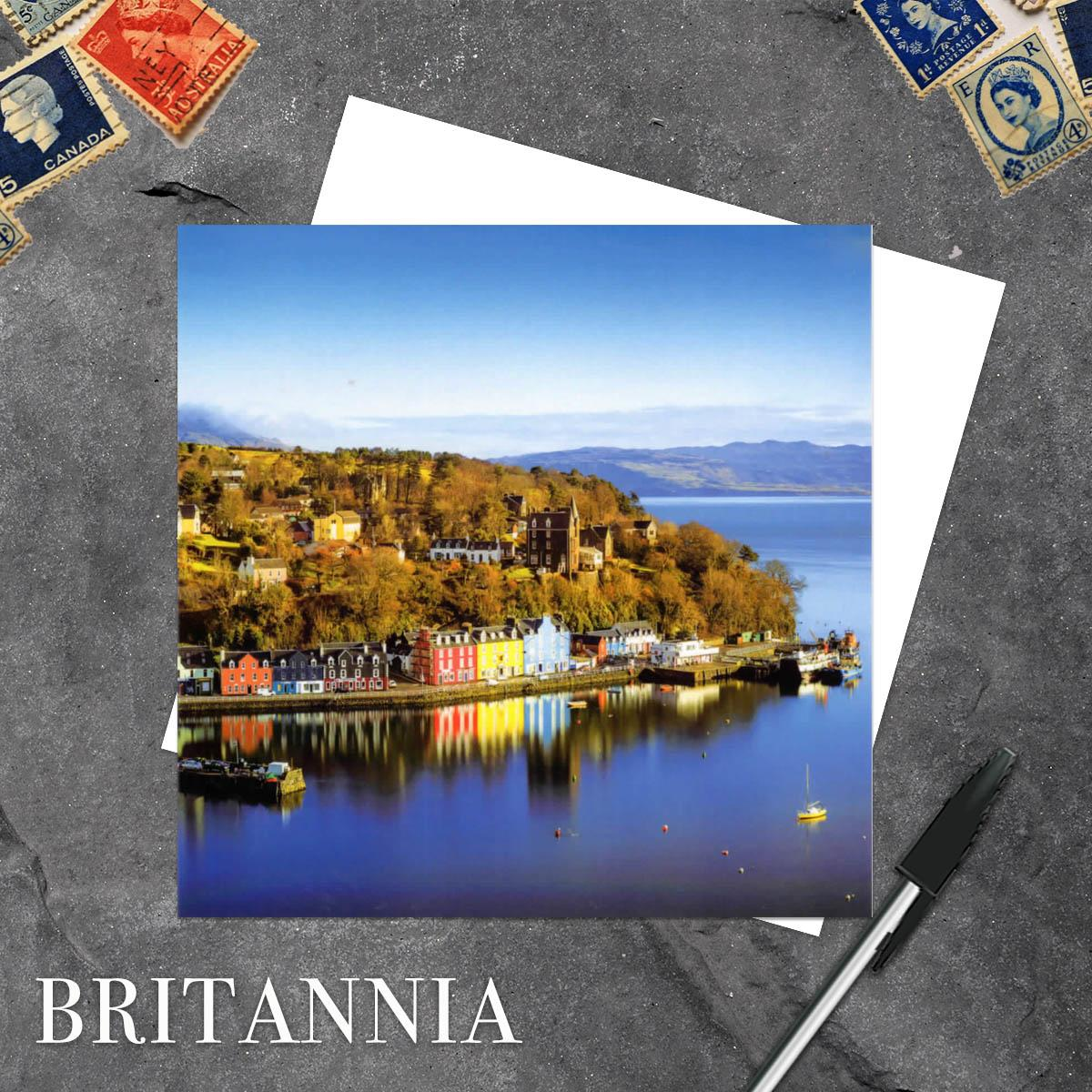 Tobermory Isle Of Mull Blank Greeting Card Alongside Its White Envelope