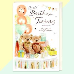 Birth Of Twins Baby Card Sitting On A Display Shelf