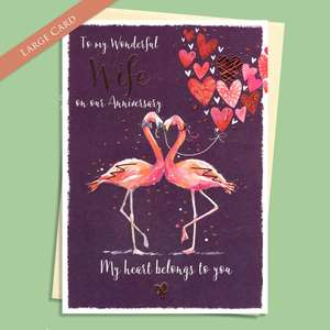 Wife Anniversary Flamingos Card Sitting On A Display Shelf