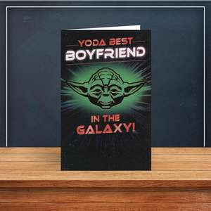 Yoda Best Boyfriend Birthday Card Sitting On A Display Shelf