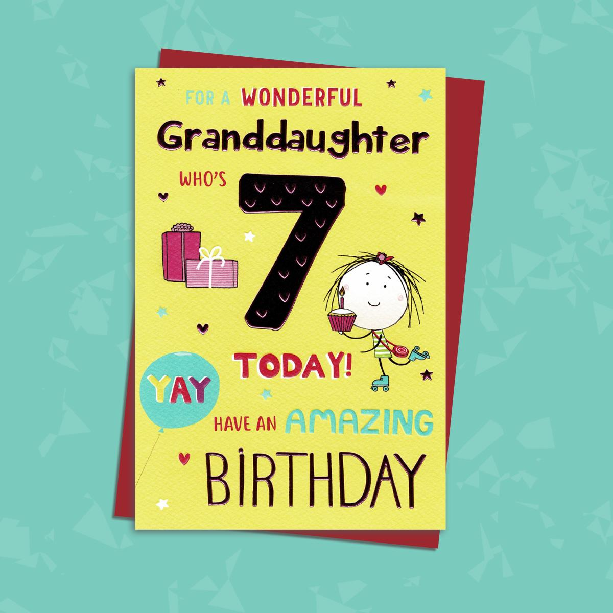 Granddaughter Age 7 Birthday Card Sitting On A Display Shelf