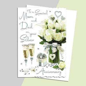 Mum And Dad Silver Anniversary Card Alongside Its White Envelope