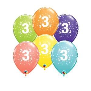 Image Of 6 Inflated Age 3 Multicoloured Latex