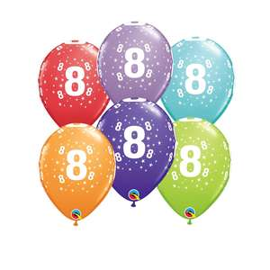 Image Of 6 Inflated Age 8 Multicoloured Latex Balloons