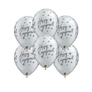 Image Of 6 Inflated Silver & Black Happy Birthday Latex Balloons